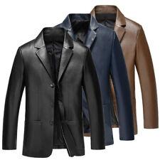 Men Leather Lapel Slim Fit Casual Business Blazer Jacket Coat Stand Collar D528