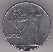 ITALIA 1979 100 LIRE MONETA IN ACCIAIO INOX-Minerva azienda OLIVO