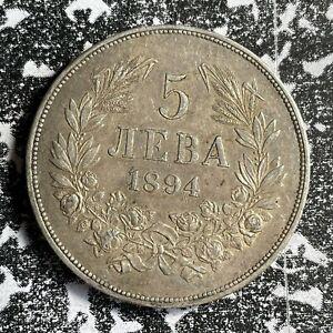 1894 Bulgaria 5 Leva Lot#PJ115 Large Silver Coin!