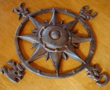RUSTIC ANTIQUE STYLE CAST IRON NAUTICAL SHIP SAILBOAT SAILING COMPASS ROSE - NEW