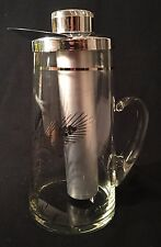 Mid Century Frigidtube Clear Glass Pitcher W/ Stainless Lid Wheat Design 1957