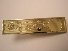 -Engrave Ready Floral Vines Gold Tone Vintage Tie Bar Clip simple plain basic