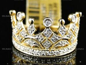 Diamond Men's Crown Pinky Fashion Designer Band Ring 1ct 14K Yellow Gold Finish