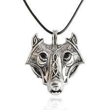 Plata Collar Cuerda De Cuero Colgante De Cabeza De Lobo Vikingos Nórdicos