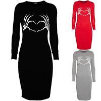 Ladies Halloween Costume Womens Skeleton Bones Hands Heart Bodycon Midi Dress