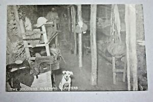 WW1 ARMY SOLDIERS SLEEPING QUARTERS PHOTOGRAPH POSTCARD LE SECTION NEWSPAPERS