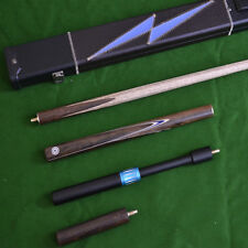 Handmade 4 Piece Snooker Cue Set with Black & Blue Leather Case and Extensions