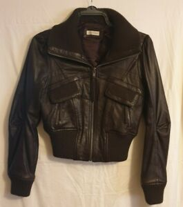 Todays Woman Brown Leather Womens Cropped Bomber Jacket Ladies UK 14 Bikers Coat
