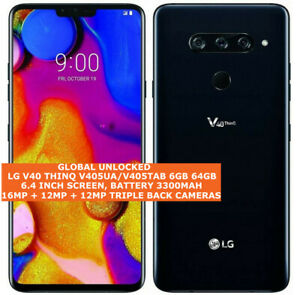 "LG V40 THINQ V405UA/V405TAB 6gb 64gb Octa-Core 16mp Fingerprint 6.4"" Android Lte"