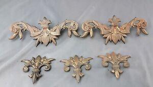 Vtg Victorian Cast Metal Curtain Decorations Art Nouveau 3 clips & 2 rod pop-ons
