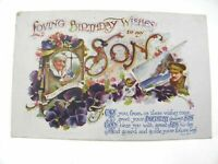 Antique printed postcard Birthday Card Loving Birthday Wishes To My Son soldier