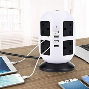 8 Way Tower Power Extension Lead USB UK Plug Multi Socket Surge Protected 2/3M