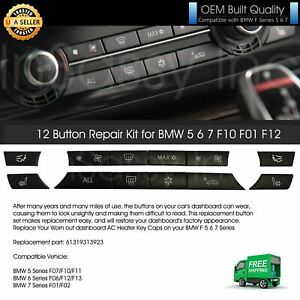 12 Button Key Caps AC Heater Switch Replacement Repair Fit BMW 5 6 7 F10 F01 F12