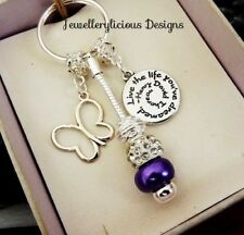 Beautiful LIVE THE LIFE YOU DREAMED Butterfly Keyring Key Ring
