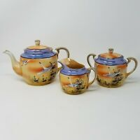 Vintage Japan Hand Painted Blue Peach Lusterware Tea Pot, Sugar Bowl and Creamer