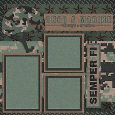 MARINE CORPS - MILITARY - SEMPER FI - 2 Premade Scrapbook Pages - EZ Layout 736