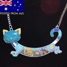 BONSNY Statement Maxi Enamel Cat Necklace ~ Large Kitten Pendant on Chain