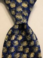 ERMENEGILDO ZEGNA Men's 100% Silk Necktie ITALY Luxury Geometric Blue/Gray EUC