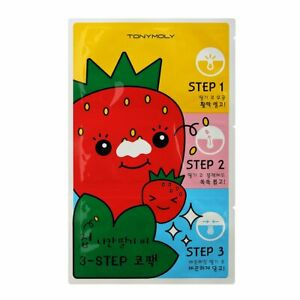 Tonymoly Runaway Strawberry Seeds 3 Step Nose Pack - Mask, Blackhead - Tony Moly