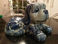 Awesome Antique Blue&White Laying Pekingese Dog Figurine