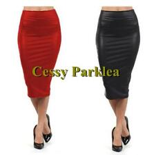 Ladies Black Red Mid-Long Faux Leather Straight Pencil SKIRT Dance Party Wear