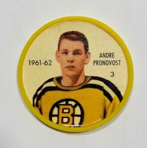 1961-62 SALADA FOODS Hockey Coins ANDRE PRONOVOST Coin #3 Boston Bruins