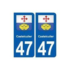 47 Castelculier blason autocollant plaque stickers ville arrondis