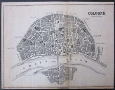 1880-90ca COLOGNE plan Bradshaw's General Handbook Köln Colonia Deutschland