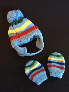 Baby Beanie Striped Blue Hat W/ Mittens Children's Place, 6-12 Months