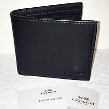 Coach Men's Double Billfold Sport Calf Leather in Black 75084 NWT