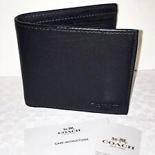 Coach Men's Double Billfold Sport Calf Leather in Black 75084 NWT