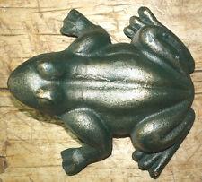 Cast Iron Antique Style Nautical Frog Statue Garden Pond Pool Doorstop Green
