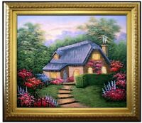 Framed Quality Hand Painted Oil Painting, Cottage in Evening, 20x24in