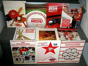 1980-1989 CINCINNATI REDS YEARBOOKS COMPLETE RUN WITH 4 YEARS OF BASEBALL CARDS