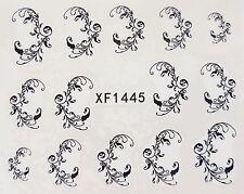 Nail Art Negro Filigrana remolinos Encaje hojas de transferencia de Agua Decal Sticker 1445