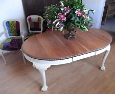 Painted Solid Mahogany Extending Dining Table 198 x 107 x 76 Chippendale style