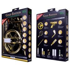 2 NEW GOLD 15-in-1 Kit for Nintendo Wii Gun Golf pool Wheel Baseball Bat Tennis