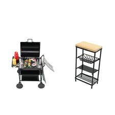Doll House Miniature BBQ Grill & Rack Kitchen Dollhouse Ornament 1:12 Scale