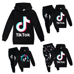 Tik Tok Kids Hoodies Tracksuits Boy Girl Sweatshirt Tops+Pants Set Birthday Gift