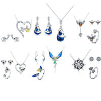Fashion Solid 925 Silver Wedding Jewelry Set Crystal Necklace Pendant Earrings