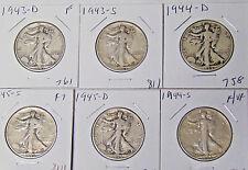 Set of 6 Walking Liberty Half Dollars 1943-D 1943-S 1944-D 1944-S 1945-D 1945-S