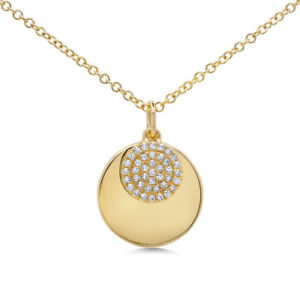 Diamond Pendant 14K Yellow Gold Moving Circle Disc Fine Fashion Necklace 0.09ct