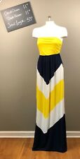Womens J Mode USA Yellow White Black Maxi Dress Chevron Sundress S NEW NWT