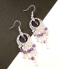 1 Natural Pair of Amethyst Gemstone Bohemian Dangle Earrings - #850