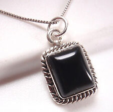 Black Onyx Rectangle with Rope Style Accents 925 Sterling Silver Necklace