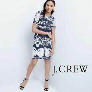 EUC $148 J. Crew Women's  Shift Dress  Lace Navy Blue & White Career Work sz 2