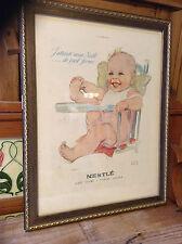More details for french vintage nestle baby framed print