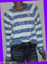 Abercrombie Fitch Striped BLUE & WHITE Womens Sweater Easy Fit Cropped MEDIUM M