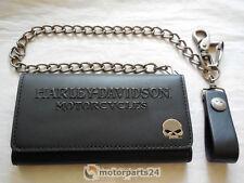 Harley Davidson Skull Tri Fold Deluxe Geldbeutel Geldbörse Kette 99443-16VM