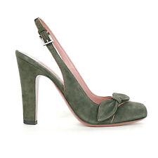 ALAIA green suede slingback bow pumps Azzedine ALAÏA high heel shoes 36 / 6 NEW
